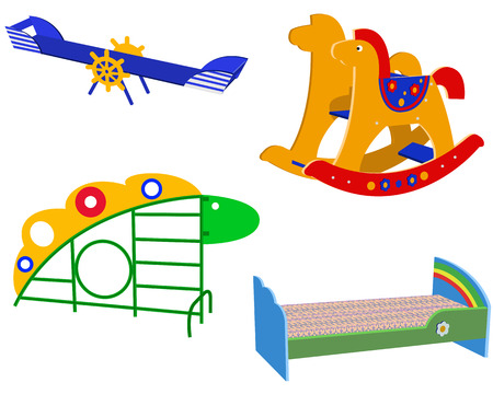 Beautiful childrens furniture on a white background Vector