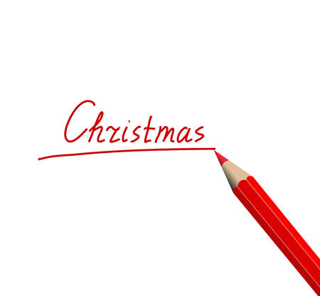 Christmas and pencil on a white background Stock Vector - 7535712