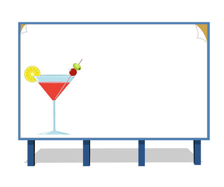 bocal: Publicity board with the image of a cocktail from fruit Illustration