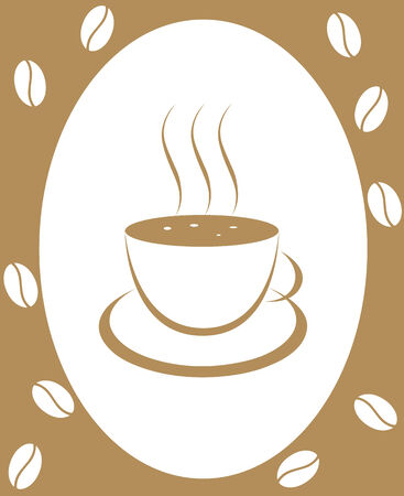 sip: Los granos de caf� y una taza de caf� sobre un fondo blanco