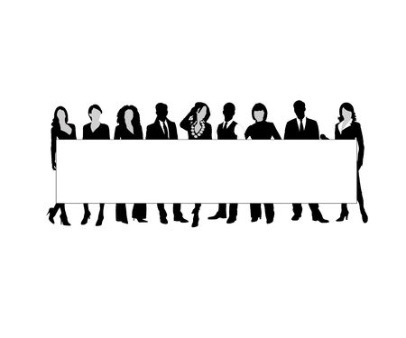 large woman: Command of the businessmen on a white background