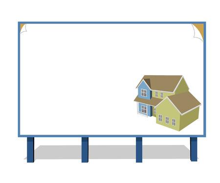 publicity: Casa de campo hermoso dibujado en un tablero de publicidad