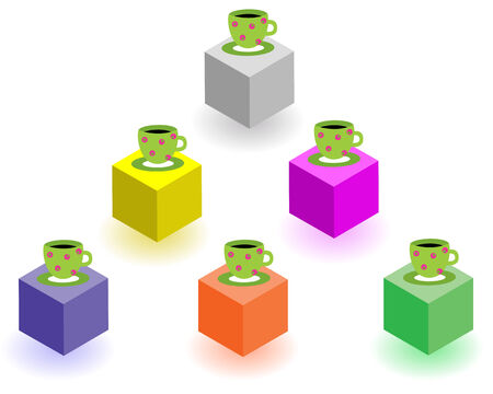 interruption: Cups and saucers stand on multi-coloured cubes