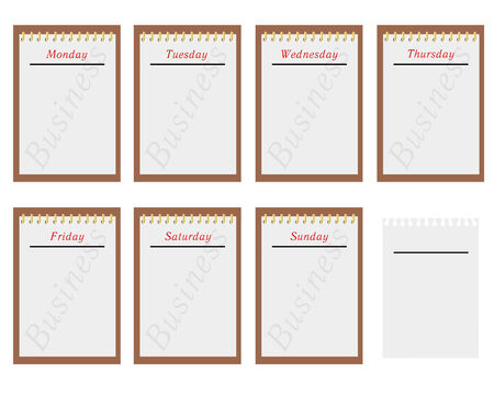 Sheets of a calendar with days of week Иллюстрация