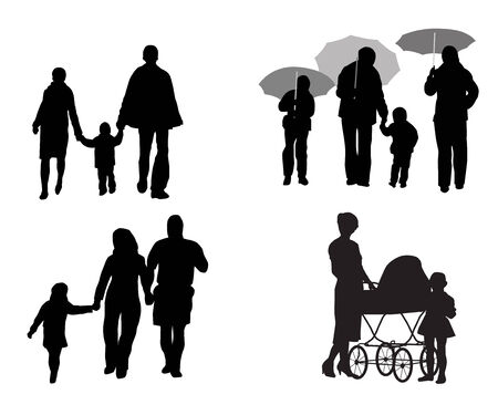sunshade: Black silhouettes of family with children on walk