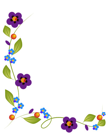 Beautiful blue flowers on a white background Çizim