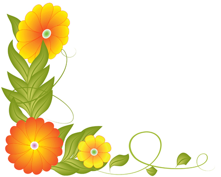 illustrated: Beautiful flowers and leafs on a white background Illustration