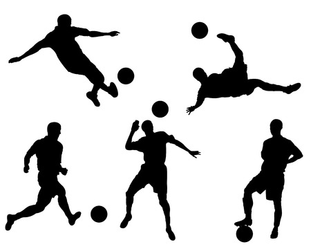 Silhouettes of the football players and planet