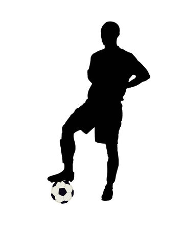 voetbal silhouet: Silhouette of the football player on a white background