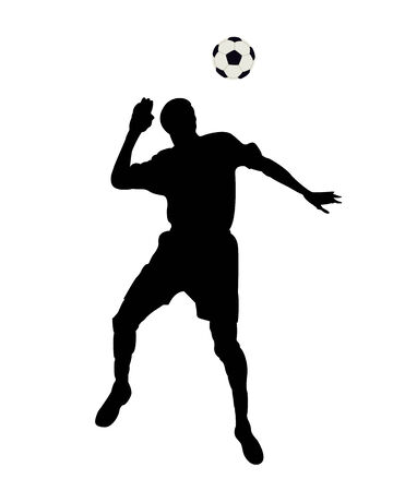 The jumping footballer on a white background