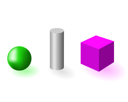 cylinder: Three geometrical figures on a white background