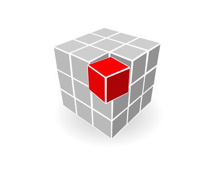red cube: Molti cubi grigi e un cubo rosso