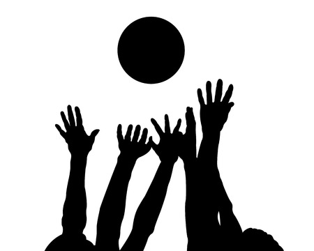 Silhouettes of hands and ball on a white background