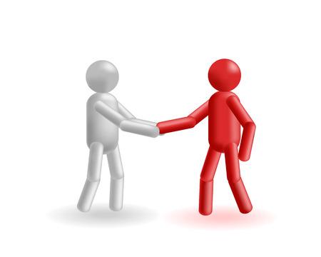 Die starke Hand-Shake in grau und rot Mann exchange