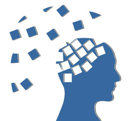psychiatry: Silhouette of a blue head on a white background