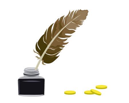 escritores: Inkstand y las plumas pararse sobre una tabla