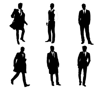 Six silhouettes of the business men