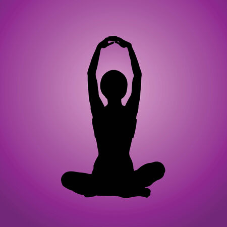 flexible woman: Silhouette of the meditating woman on a white background
