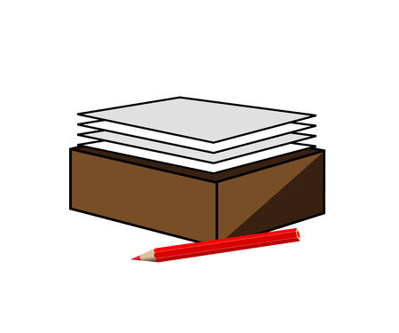 Pencil and pile of a white paper in a box Stock Vector - 7535639