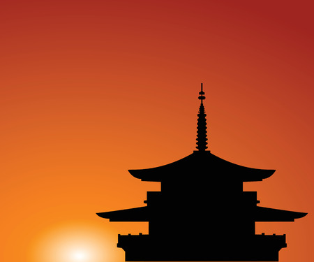 edifice: Silhouette of a building in Asia on a background of the sky