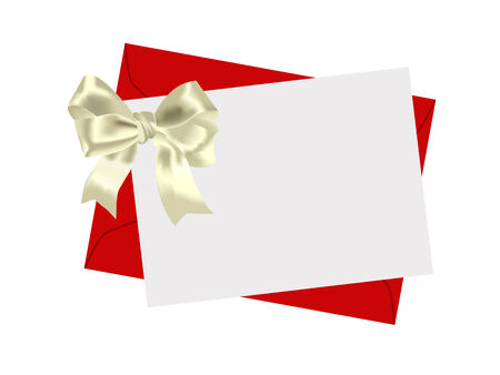 Envelope and beautiful yellow bow on a white background Vector