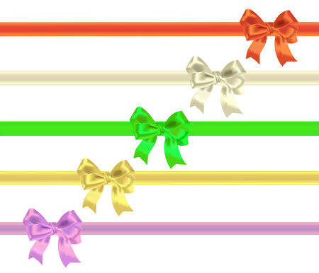 Bows and tapes on a white background Vector