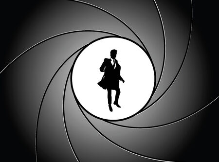 peril: Silhouette of the businessman at gun point