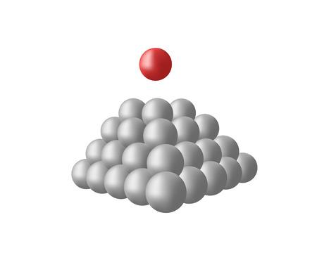 red sphere: Sfere molto grigie e una sfera rossa Vettoriali