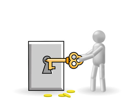 The grey man closes by a key the safe Stock Vector - 7584313