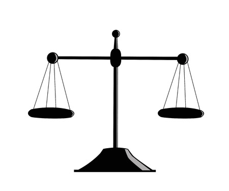 judgement: Silhouette pharmaceutical scales on a white background