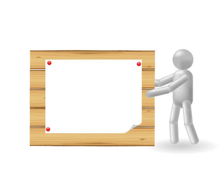 The grey man holds a wooden publicity board Stock Vector - 7584314
