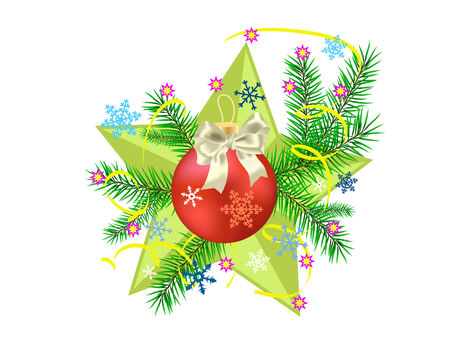 Christmas tree  and sphere on a star background Vector