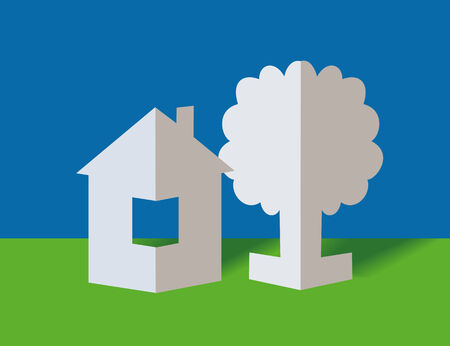 immovable property: The white paper house and paper tree