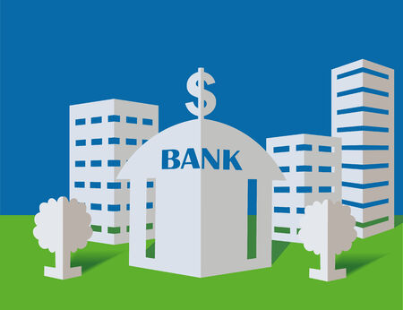 immovable property: Bank from a paper on a blue background Illustration