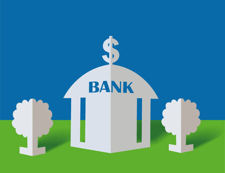 immovable property: Bank and dollar on a blue background