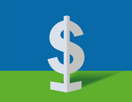 Symbol of dollar on a blue background Stock Vector - 7670253
