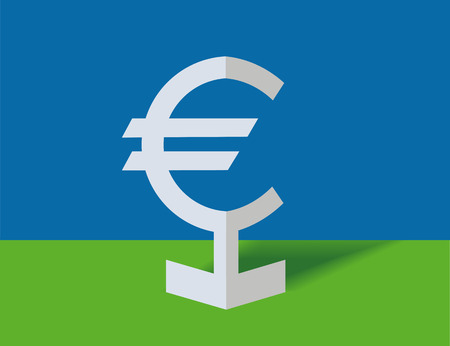 Symbol of euro on a blue background Stock Vector - 7670254