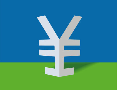 Symbol of yen on a blue background Stock Vector - 7670251