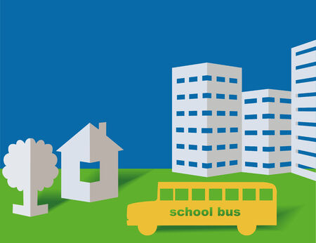 School bus from a paper on a blue background