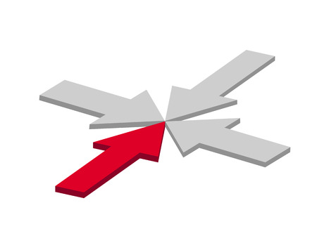 Red arrow and three grey arrows together Vector