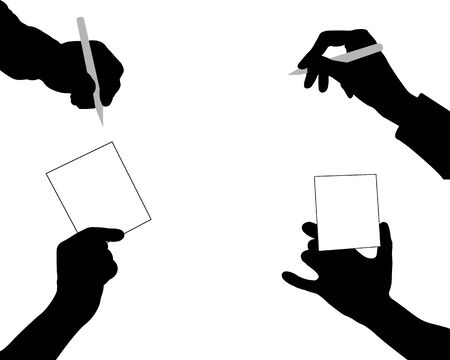 signatures: Black silhouettes of hands on a white background