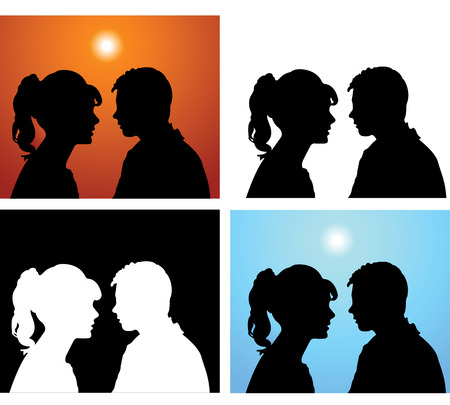 Silhouette kissed in love the man and woman Vector