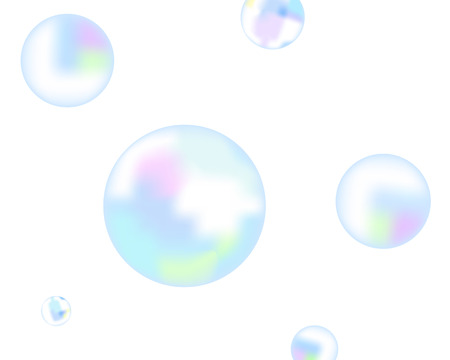 The soap bubbles fly on a white background Illustration