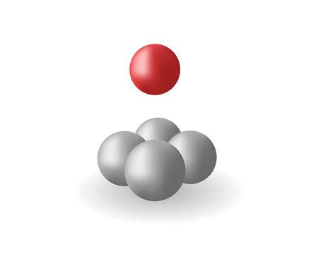red sphere: Quattro sfere grigie e una sfera rossa