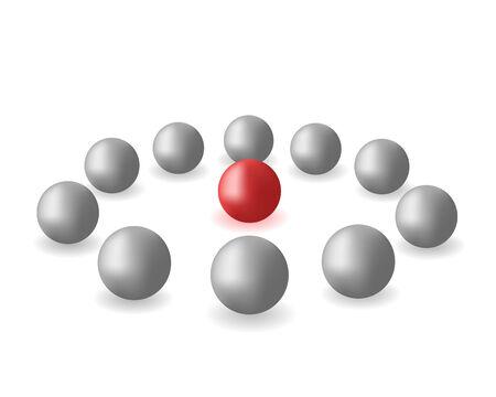 red sphere: Molte sfere grigie e una sfera rossa