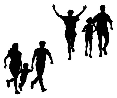 mujeres corriendo: Silueta de correr de deportes familia sobre un fondo blanco