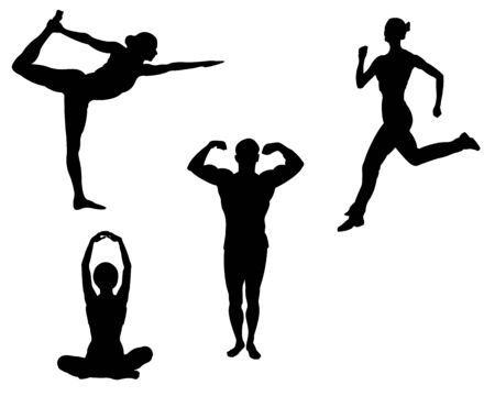 Sports black silhouettes on a white background Stock Vector - 7670278