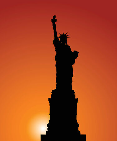 Vector silhouette of a Statue of Freedom on a background of the evening sky Vector