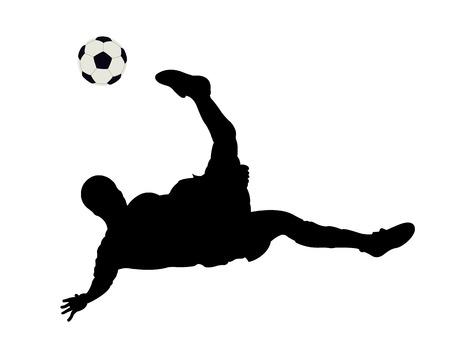voetbal silhouet: Silhouet van de voet bal speler op een witte achtergrond