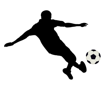 emulation: Silhouette of the footballer on a white background Illustration